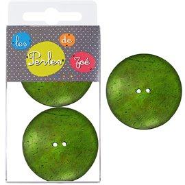 6 Boutons coco 4cm Vert