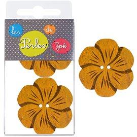 6 Boutons fleurs coco 4cm Jaune