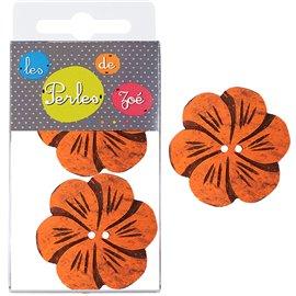 6 Boutons fleurs coco 4cm Orange