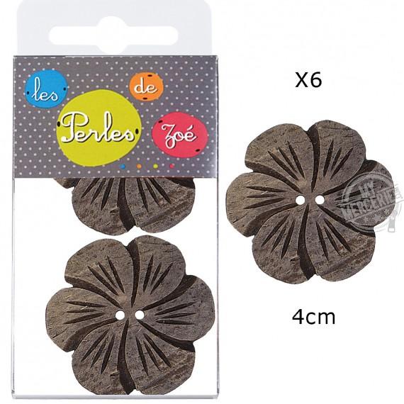 6 Boutons fleurs coco 4cm Lin