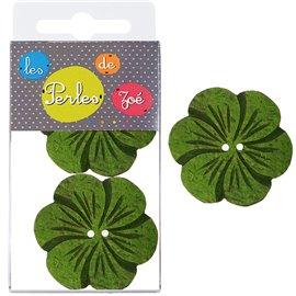 6 Boutons fleurs coco 4cm Vert
