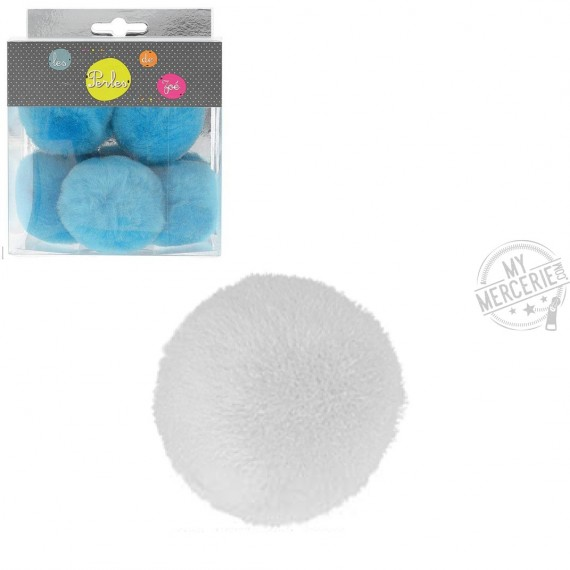 Lot de 5 petits pompons 5cm Blanc