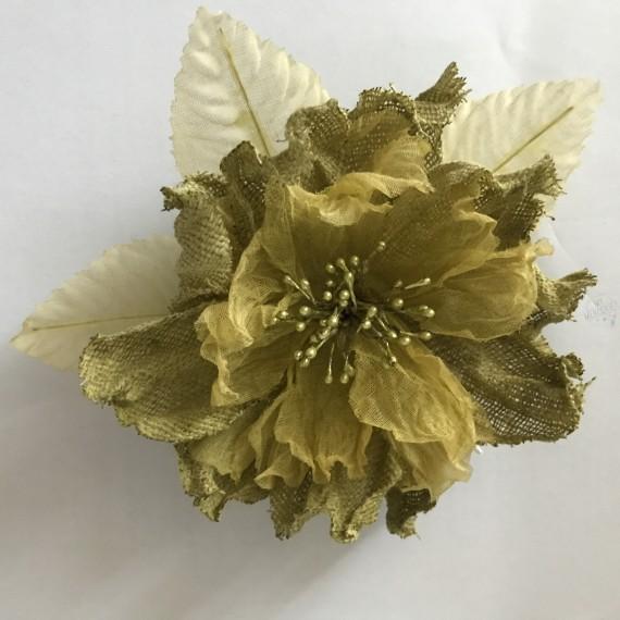 Broche fleur vert olive jean organdi et lin