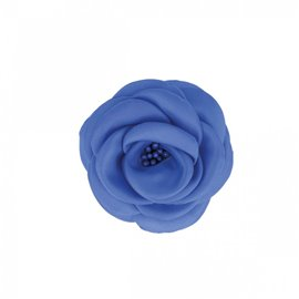 Broche fleur pistils bleu