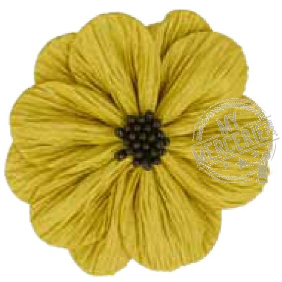 Fleur coquelicot jaune sur broche