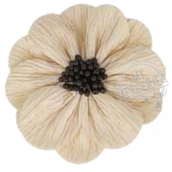 Fleur coquelicot beige sur broche