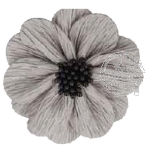 Fleur coquelicot gris clair sur broche