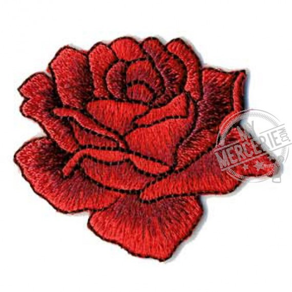 Ecusson thermocollant rose dessinée rouge 4x4.5cm