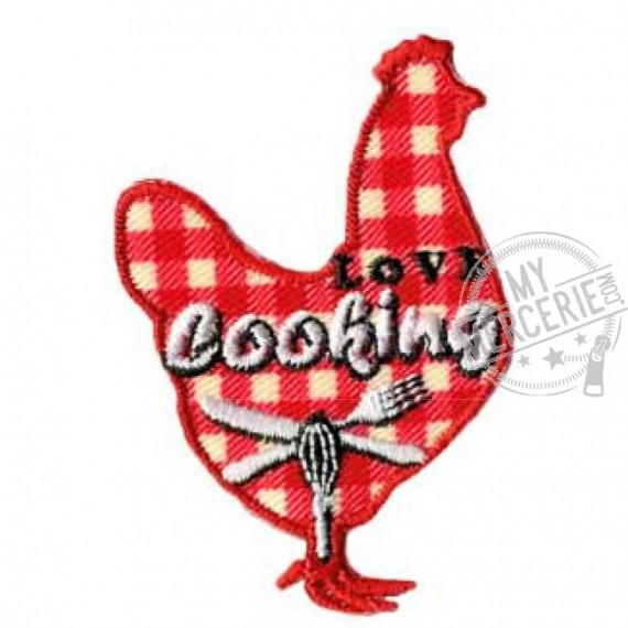 Lot de 3 écussons thermocollants poule cooking 3x3.5cm