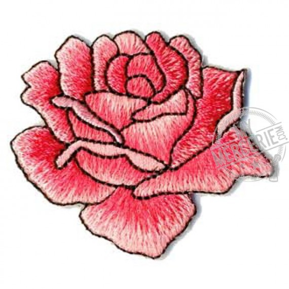 Lot de 3 écussons thermocollants rose dessinée rose 4x4.5cm