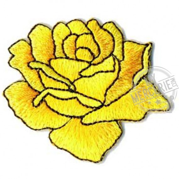 Lot de 3 écussons thermocollants rose dessinée jaune 4x4.5cm