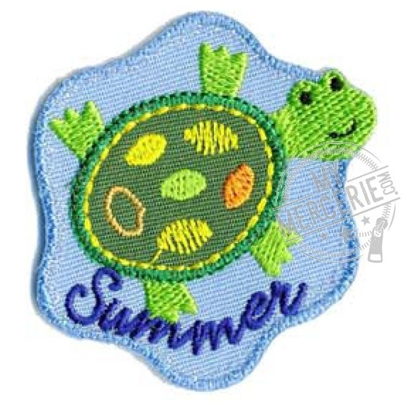 Lot de 3 écussons thermocollants tortue Summer 5x4.5cm