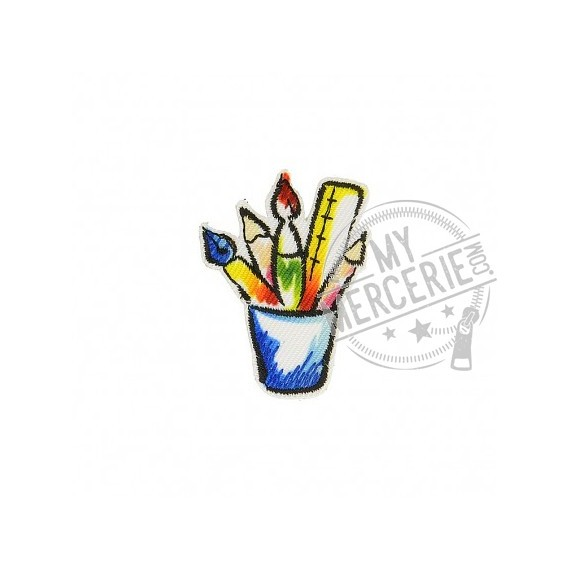 Lot de 3 écussons thermocollants Pot crayons bleu 3cm x 2cm