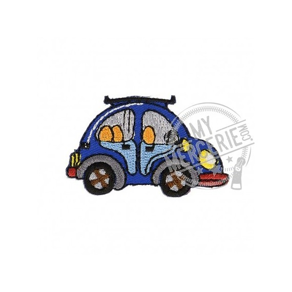 Lot de 3 écussons thermocollants Voiture bleue 2,5cm x 5cm