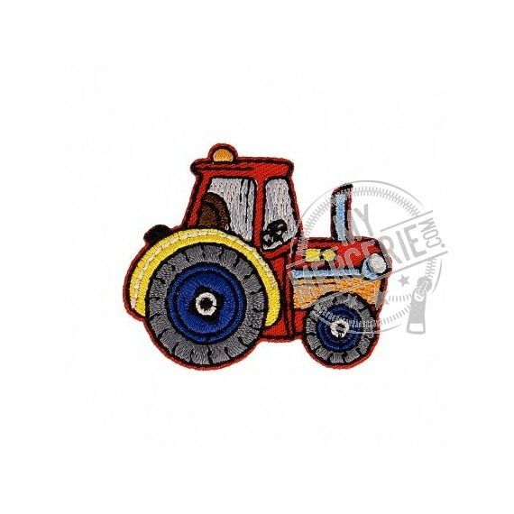 Lot de 3 écussons thermocollants Tracteur rouge 3,5cm x 4,5cm