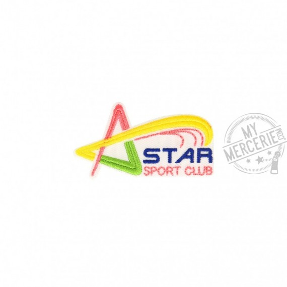 Lot de 3 écussons thermocollants Star Sport Club 3cm x 6cm