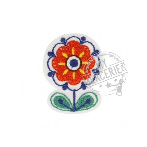Lot de 3 écussons thermocollants Fleur Babouchka 4cm x 3cm