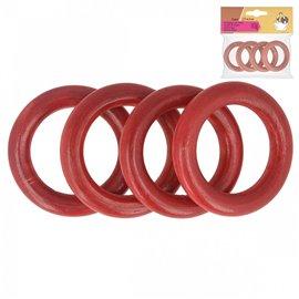 Lot de 4 anneaux de sac en bois 4,4cm rouge