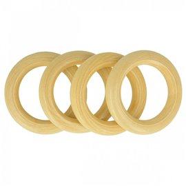 Lot de 4 anneaux de sac en bois 4,4cm naturel