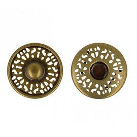 Bouton pression dentelle couleur or antique 25mm