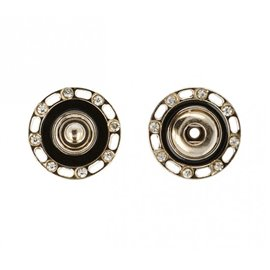 Boutons pressions strass 24mm couleur noir et or