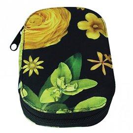 Pochette à couture 16x12cm fleurs 3D jaunes