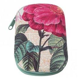 Pochette à couture 16x12cm grosse fleur rose