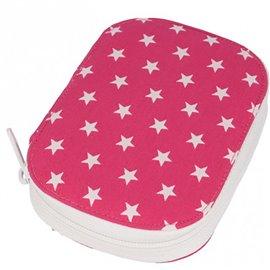 Pochette à couture 16x12cm étoiles blanches sur fonds rose