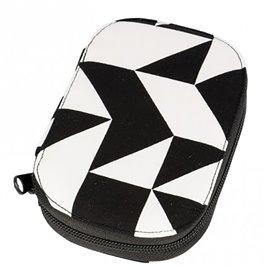 Pochette à couture 16x12cm imprimé géométrique blanc et noir