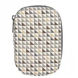 Pochette à couture 16x12cm petits triangles marrons et gris