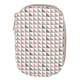 Pochette à couture 16x12cm petits triangles roses et gris