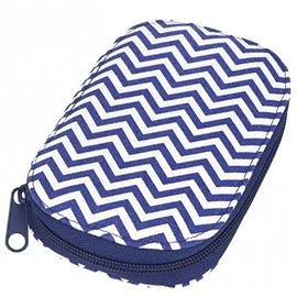 Pochette à couture 16x12cm imprimé vagues géométriques bleues et blanches