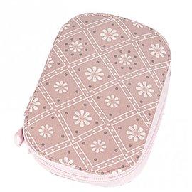Pochette à couture 16x12cm fleurs blanches sur fonds rose