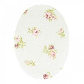 2 coudes thermocollants ou à coudre fleurs fond blanc