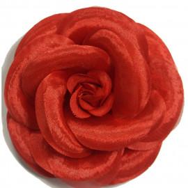 Broche fleur camélia rouge
