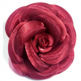 Broche fleur camélia couleur bourgogne