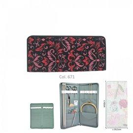 Porte aiguilles à tricoter 43cmx20cm fleurs rouges et roses