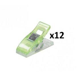 Lot 12 pinces patchwork vert 2,7x1cm