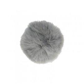 Pompon fourrure lapin 7cm gris clair
