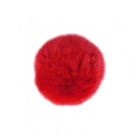 Pompon fourrure lapin 7cm rouge