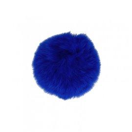 Pompon fourrure lapin 7cm bleu roi