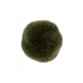 Pompon fourrure lapin 7cm kaki