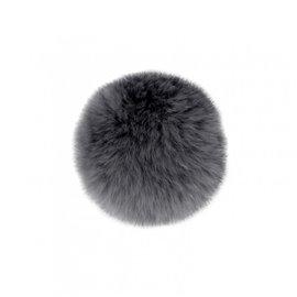 Pompon fourrure lapin 7cm gris