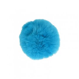 Pompon fourrure lapin 7cm turquoise