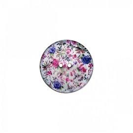 Bouton coco décoré petites fleurs 23cm