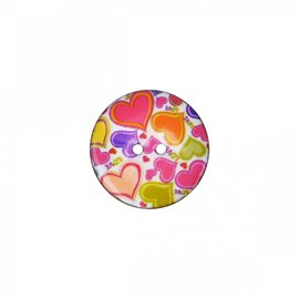 Bouton coco décoré cœurs 23cm