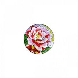 Bouton coco décoré pivoine 34cm