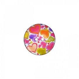 Bouton coco décoré cœurs 34cm