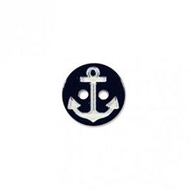 Bouton 2 trous ancre marine noir/blanc 13cm