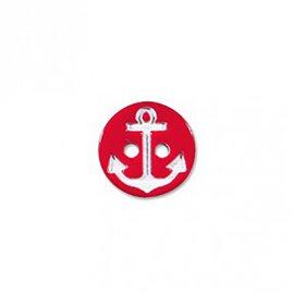 Bouton 2 trous ancre marine rouge/blanc 13cm